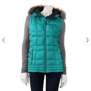 COLUMBIA Hooded Turquoise Puffer Vest - No Fur